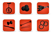 Juggling icons red — Stock Vector