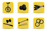 Juggling icons yellow — Stock Vector
