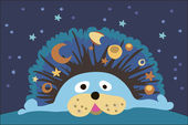 Hedgehog and stars — Stock Vector