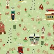 Christmas retro seamless with little town in winter — Stock Photo #27596827
