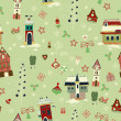Christmas retro seamless with little town in winter — Stock Photo