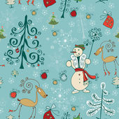 Christmas hand drawn texture with cute Santa deer, doodle snowman — Cтоковый вектор