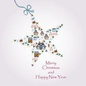 圣诞节明星图-与一颗闪亮的明信片 — 图库矢量图片