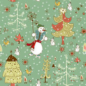 Christmas hand drawn texture with cute Santa deer, doodle snowman — Stockvektor