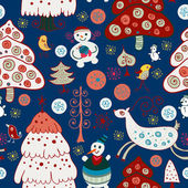 Vinter jul skog. seamless mönster冬季圣诞森林。无缝模式 — Stockvektor