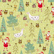 Forest and deer. seamless pattern — Imagen vectorial