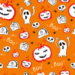 Vector de stock : Halloween skull background pattern in vector