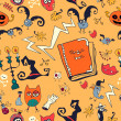 Halloween Hand drawn seamless retro pattern with monsters — Stock Vector