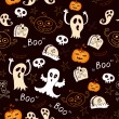Seamless halloween background with ghosts, pumpkins — Stok Vektör