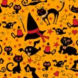 Halloween cartoon seamless texture with cats and crows — Stok Vektör