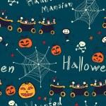 Halloween hand drawn seamless retro pattern — Stock Vector