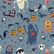 Stock Vector: Halloween Hand drawn seamless retro pattern