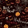 Halloween seamless background. Bright text and pumpkins — Image vectorielle