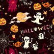 Seamless halloween background with ghosts, monsters — ストックベクタ