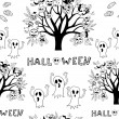 Halloween Seamless black and white. — Stock Vector