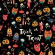 Vettoriale Stock : Halloween Seamless trick-or-treat pattern
