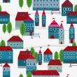 Christmas winter time city pattern background — Imagens vectoriais em stock