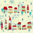 Winter Christmas pattern with houses and trees — Stock Vector