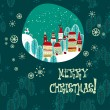 Christmas winter time town pattern background — Imagen vectorial