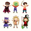 An illustration of kids in halloween costumes — Stock Vector