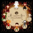 An illustration of kids in halloween costumes — Stock Vector #30638653