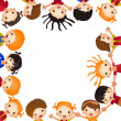 Fun kid's frame. Many of children hold blank — Stock Vector #30638657