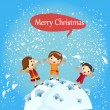 Christmas card with children around the earth — Stock Vector #30638899