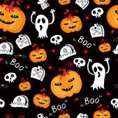 Halloween seamless comic pumpkin and phantom. — Stock Vector