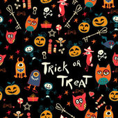 Halloween Seamless trick-or-treat pattern — Stock Vector