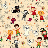 Vector seamless background with kids. in halloween costumes. — Stock Vector