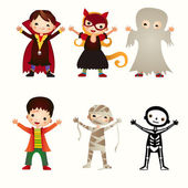 An illustration of kids in halloween costumes — ストックベクタ