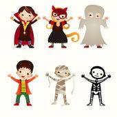 Un'illustrazione di bambini in costumi di halloween — Vettoriale Stock