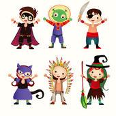 ハロウィーンの衣装で子供たちのイラスト — ストックベクタ