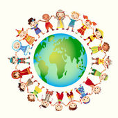 Multicultural children on planet earth — Stock Vector