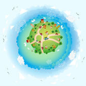 An eco illustration of earth. Friendly small Planet — Stock Vector