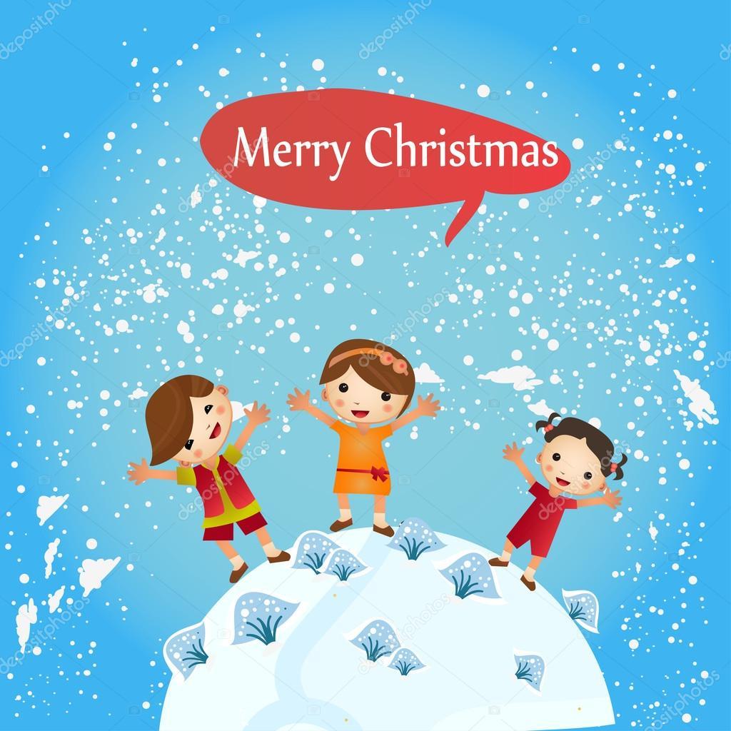 Tarjeta de navidad con los ni os alrededor de la tierra - Postales de navidad con fotos de ninos ...