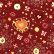 Red flower love seamless. Valentine floral background — Imagen vectorial