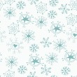 Blue christmas seamless pattern with snowflakes on white — Stock Vector