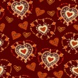 Funny seamless pattern with hearts Vector — Stok Vektör
