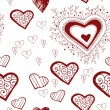 Vintage lacy red hearts on a white background. Hand-drawing — Stockvektor