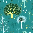 Seamless tree pattern with forest illustration in vector — Stock Vector