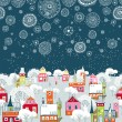 Vector illustration with winter city, falling snowflakes — Stock Vector