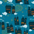 Seamless pattern with houses in the night sky — Stock Vector #30646907