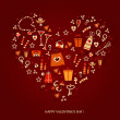 Valentine card. Heart of the icons — Imagen vectorial