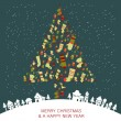 Christmas and New Year's Greeting card. Christmas tree — Image vectorielle