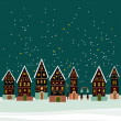 Christmas card with cute little town — Stock Vector