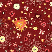Red flower love seamless. Valentine floral background — Stock Vector