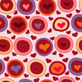 Bright Valentine seamless pattern with hearts in circles. — Stock Vector