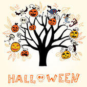 Halloween card isolated on white background. Vector illustration — Vector de stock
