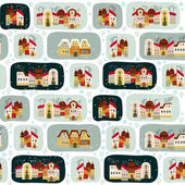 Cute seamless pattern with road and cartoon houses in winter — Stock Vector